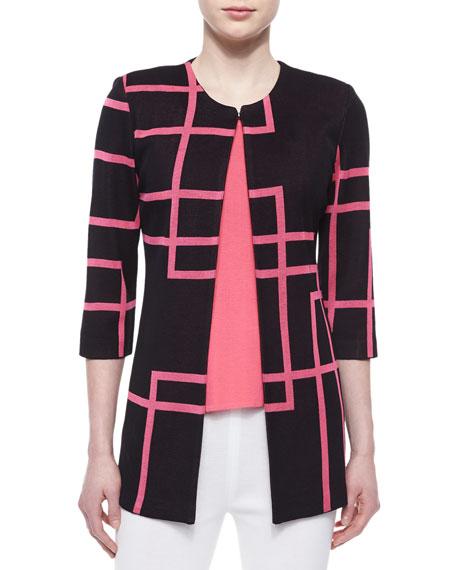 Misook Street Lines 3/4-Sleeve Jacket