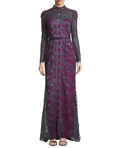 Lace Gown with Contrast Lining