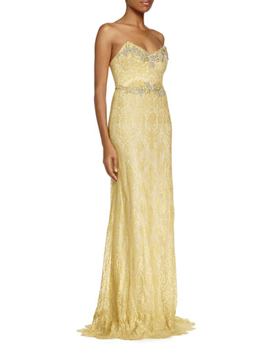 Strapless Sweetheart Lace Gown