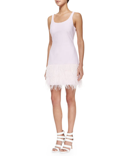 New India Sleeveless Feather-Skirt Ponte Dress, Pink