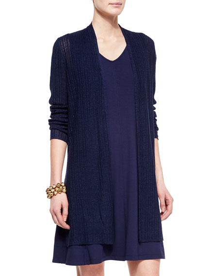Ribbed Washable Organic Linen Cardigan, Midnight, Plus Size