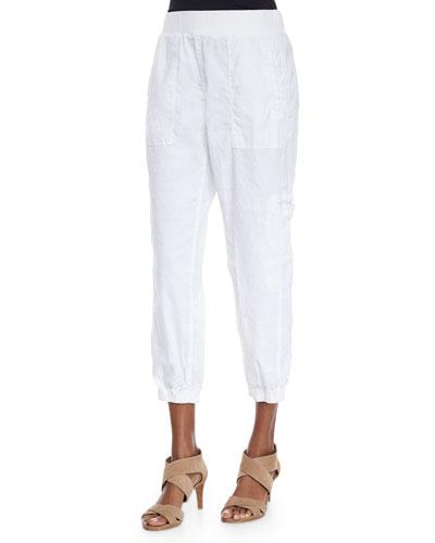 Linen-Blend Cargo Ankle Pants, Petite