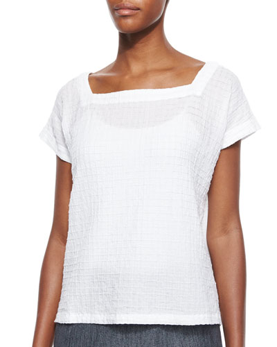 Short-Sleeve Voile Box Top, White
