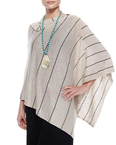 Organic Linen Pinstripe Poncho, Natural/Black