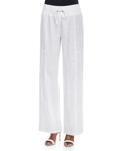 Organic Linen Wide-Leg Pants, Petite