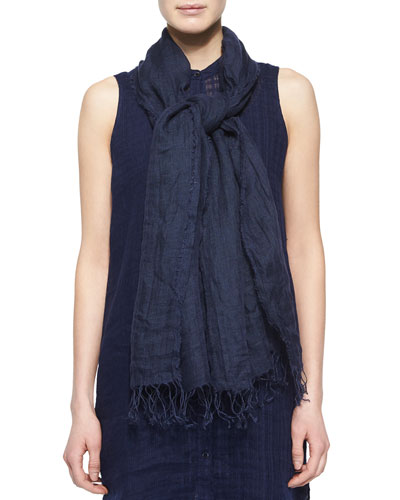 Airy Washed Linen Scarf, Midnight