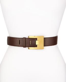 Solid Faux-Leather Belt, Brown