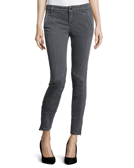 Stella McCartney Denim Moto-Stitch Leggings, Charcoal