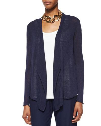 Cascading-Front Linen-Blend Cardigan, Petite