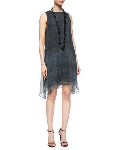 Sleeveless Maltinto Crinkled Chiffon Dress, Graphite