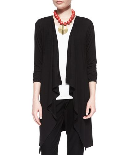 Long-Sleeve Cascading Long Cardigan, Black