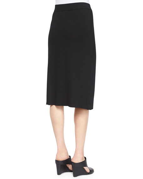 Eileen Fisher Faux-Wrap Pencil Skirt, Black