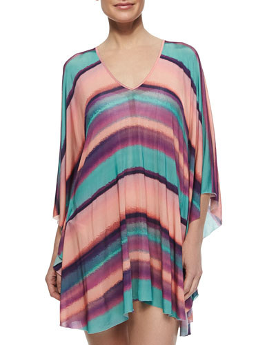 Reef Striped V-Neck Caftan Coverup