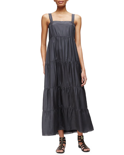 Silk Tiered Maxi Sundress, Graphite, Women