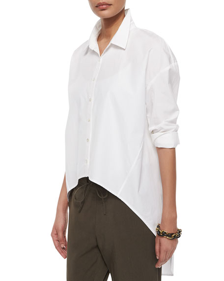 Eileen fisher organic cotton button front high low shirt for Organic cotton button down shirts