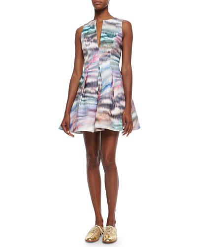 Matthew Pleated Printed Twill Dress