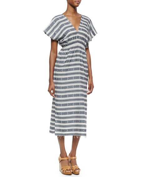 MICHAEL Michael Kors Short-Sleeve V-Neck Printed Long Dress