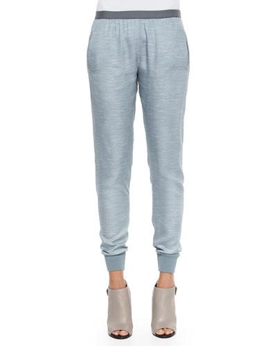 Chambray Knit-Trim Jogger Pants