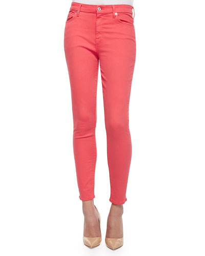 High-Rise Skinny Ankle Jeans, Coral