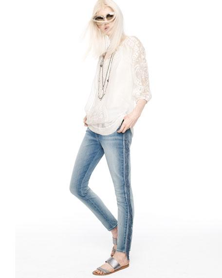 Mid-Rise Fringe Skinny Jeans, Slim Illusion