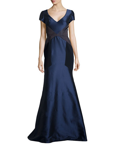 Satin Trumpet Gown w/ Contrast, Navy