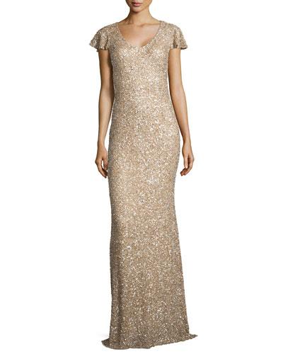 Flutter-Sleeve Sequin Gown, Rhodium