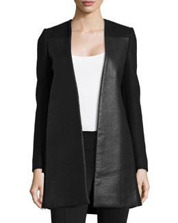Open-Front Wool-Blend Coat, Black