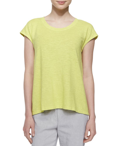 Short-Sleeve Hemp Twist Box Top, Honeydew, Petite