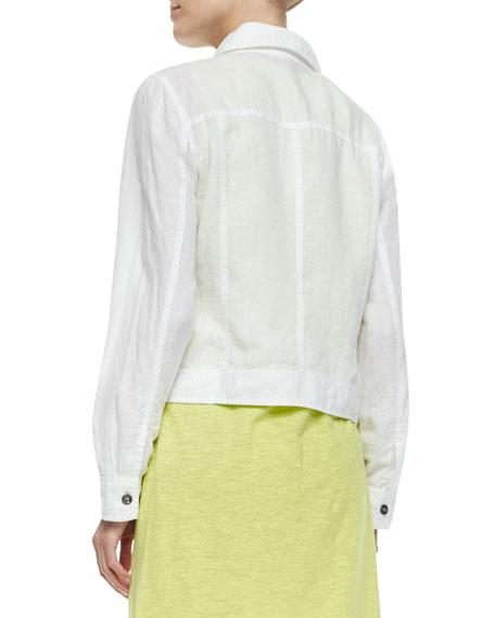 Eileen Fisher Organic Linen Jean Jacket White Women S