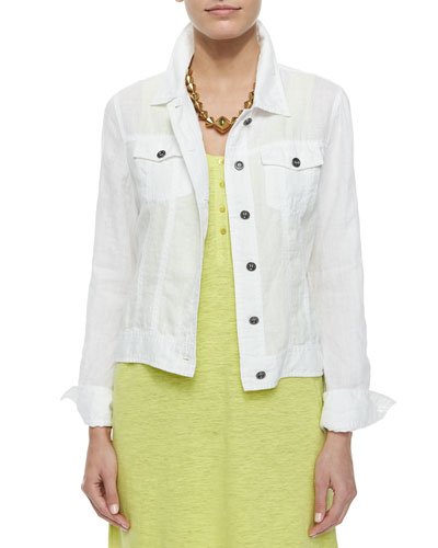 T9S89 Eileen Fisher Organic Linen Jean Jacket, White, Women's