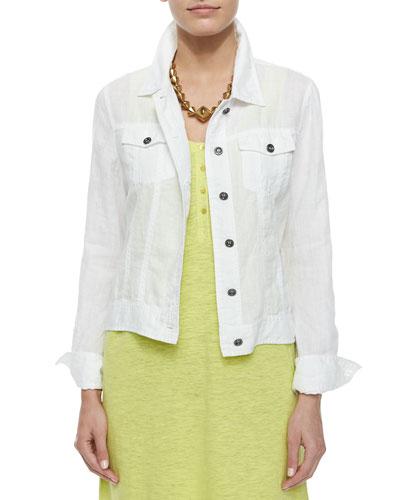 Organic Linen Jean Jacket, White, Women's