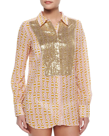 FigueLamu Printed Sequined Silk Blouse