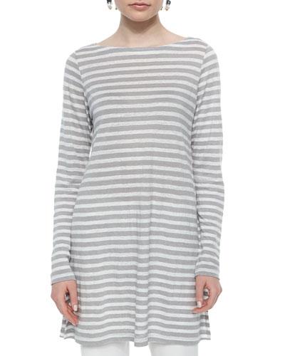 Long-Sleeve Cruise Striped Linen Tunic, Silver, Women