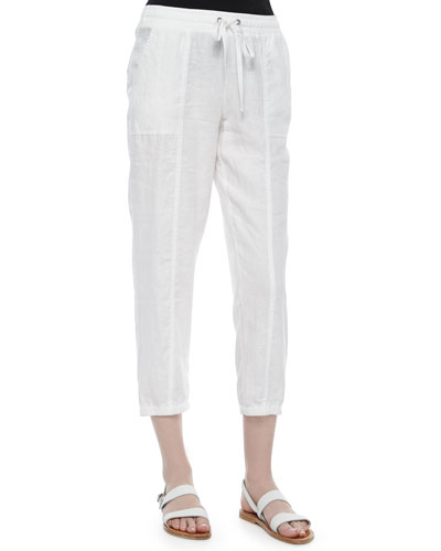 Organic Linen Cropped Pants, Women