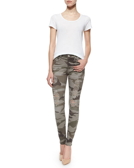 Image 2 of 4: Halle Distressed Skinny Jeans, Destroyed Camo