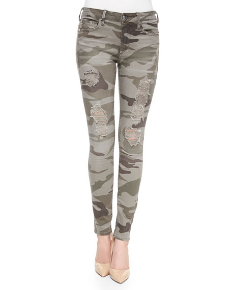 Image 1 of 4: Halle Distressed Skinny Jeans, Destroyed Camo