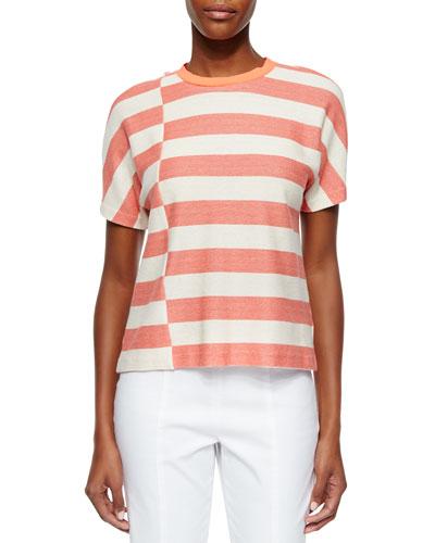 Short-Sleeve Striped Tee, Melon/Pink