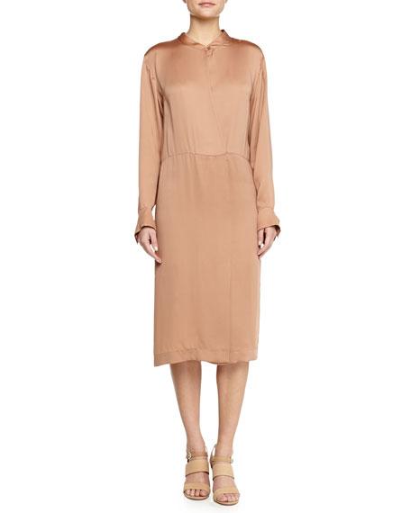 Stella McCartney Satin Long-Sleeve Dress, Nude