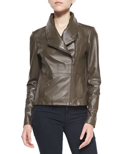 Asymmetric Fold-Over Collar Leather Jacket, Tarmac