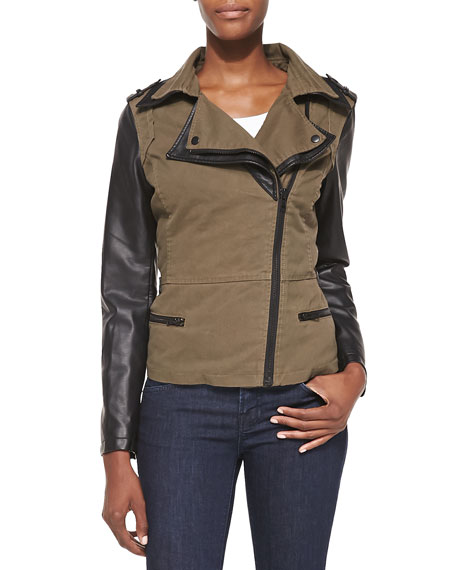 Cusp by Neiman Marcus Faux-Leather Combo Moto Jacket, Olive