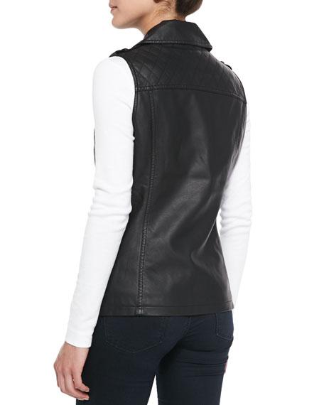 Cusp by Neiman Marcus Asymmetric Zip-Front Faux-Leather Vest, Black