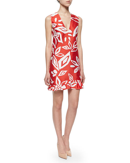 Diane von Furstenberg Floral-Print Ruffled Sateen Dress