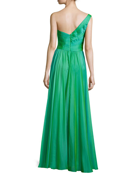 Ruched One-Shoulder Gown, Jungle Green