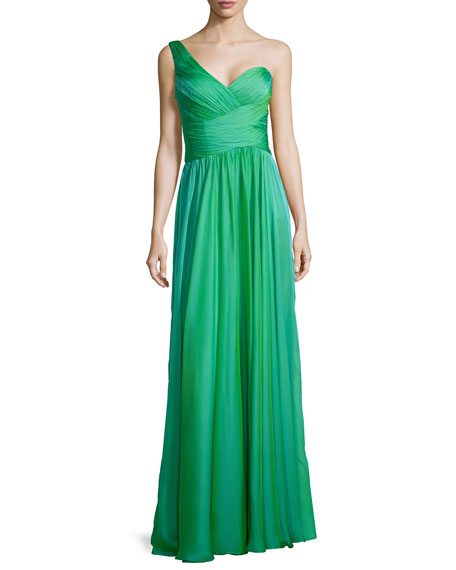 La Femme Ruched One-Shoulder Gown, Jungle Green