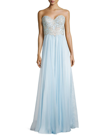 La Femme Sweetheart Lace-Trim Gown, Powder Blue