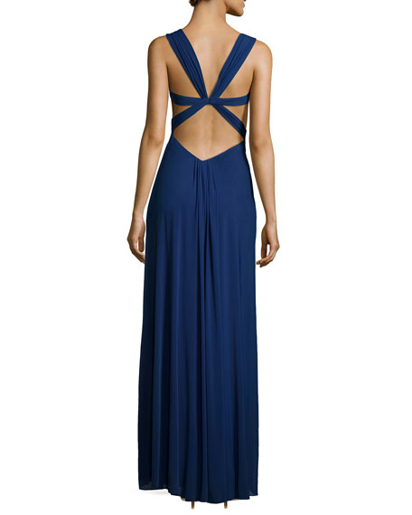 Sleeveless Knotted Chiffon Dress, Navy