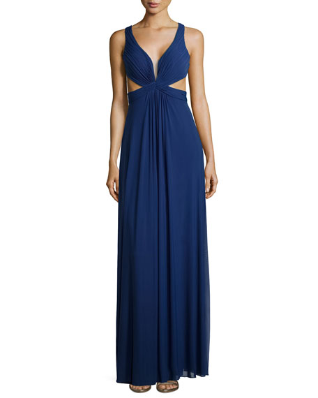 La Femme Sleeveless Knotted Chiffon Dress, Navy