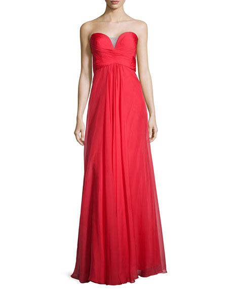 La Femme Ruched Strapless Chiffon Gown, Red