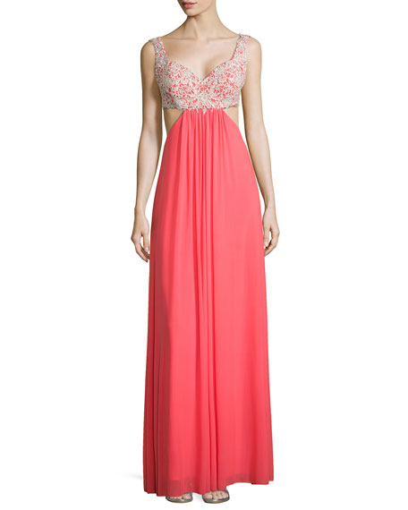 Lace-Trim Cutout Chiffon Gown, Pink Grapefruit