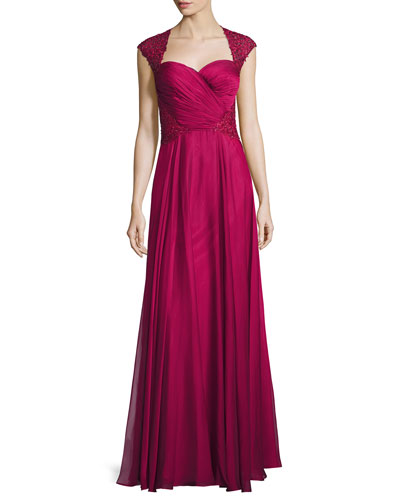 Ruched-Bodice Sweetheart Gown, Cocoa
